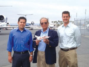 L to R: RunJet Aviation Manager Matt Harlin, Aerospace Technology Group President John Kalogeris and RunJet Aviation President Jeff Runyon are excited about a rocket-powered jet they predict will revolutionize jet travel.