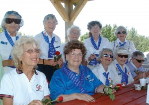 The nine members of the WASP in attendance included (L to R) Betty Jo Reed, Dawn Seymour, Betty Brown, Mickey Brown, Marty Wyall. Carol Hamilton (99s) is seated with Margaret Ringenberg, Dorothy Swain Lewis, Carol Bayley Bosca and Jeanette Kapus.