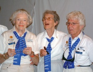 "Carol Bayley Bosca, Dorothy Swain Lewis and Betty ""Bee Jay"" Brown share a laugh before the ceremony."