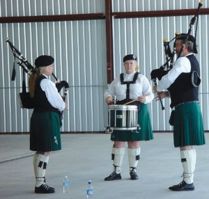 A genuine British pipe band led the celebrations at Front Range Airport. L to R: Kelly Fitzrandolf, Susie Carroll and Jim Fitzrandolf.
