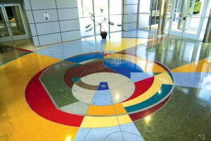 The artistic touches applied to Dallas Executive Airport's new lobby floor show the quality of the airport's improvements.