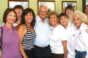 Members of the San Fernando Valley Chapter of the99s were on hand to wish Phil Aune well. L to R: Eileen Harte Goldsman, Anne Marie Radel, Phil Aune, Jan-Archibald, Jackie Forsting and Lilian Holt. Back row: Sue Scala and Coralee Tucker.