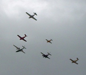 Air Boss Dan DuPre led this formation in an Aero Commander Shrike.