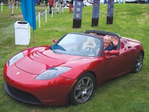 Martin Eberhard, Tesla Motors president and founder, exhibited the Tesla all-electric powered sports car featuring super car performance with just one penny per mile cost of operation for charging the battery.