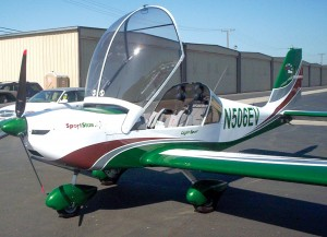 The lift-up bubble canopy offers excellent visibility and easy entrance into the cockpit of the all-metal SportStar. The aircraft is sold by Sport Planes West, and will soon be available in Camarillo.