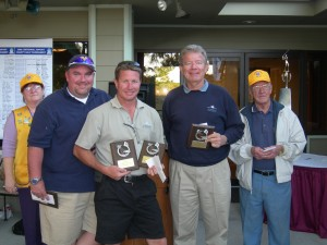 Pictured with Gwen Balk (Centennial Airport) and Gil Utterback (tournament director), first place winners Jim Sommers, Chris Smith and Dwight Reimer each won $100, plus a plaque (Dassault Falcon Jet).