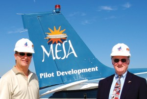 Mesa Airlines CEO Jonathan Ornstein (left) and William McCurry, department chair of Arizona State's Aeronautical Management Technology Program, were on hand for the groundbreaking ceremony of the school's new hangar at Williams Gateway in August.