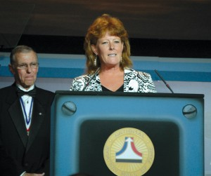 At the NAHF annual enshrinement dinner in July, Joe Engle introduced Diane Gates Wallach, a trustee of the Charles C. and June S. Gates Family Fund. The philanthropic foundation recently stepped forward to underwrite the Combs Gates Award.