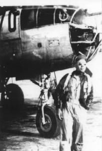 Flight Officer James C. Warren in front of his B-25 at Godman Field, Ky., in 1945.
