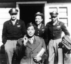 First Lieutenant William Ellis (in front) and (L to R) Capt. Richard Stanton, Flight Officer Warren and Second Lieutenant Leroy Roberts leave Godman Field for some recreation in the fall of 1945.