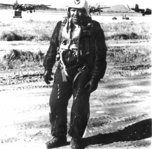 Second Lieutenant Warren in 1952, after a morning mission; B-26 Night Intruders are in the background.