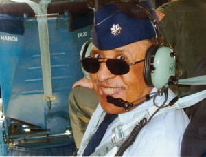 "Lt. Col. Warren takes the navigator's seat for a final flight aboard the infamous C-141 known as the ""Hanoi Taxi"" on May 6, 2006, at Patterson AFB in Dayton, Ohio."