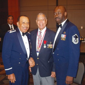L to R: Lt. Col. James Warren, Lt. Col. Lee A. Archer and Maj. Sgt. Wayne Wellington at the Tuskegee Airmen National Convention in Phoenix in August 2006.