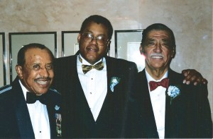 L to R: Lt. Col. Warren, D. Michael Collins (deputy, Equal Opportunity) and Roger Terry (president, Tuskegee Airmen, Inc.), after the 1995 announcement that the Air Force was removing letters of reprimand from the military records of the 477th BG.
