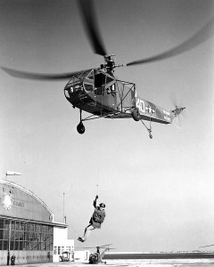 John Sanduski demonstrates rescue techniques at the Coast Guard Air Station, Brooklyn, N.Y., in 1944.