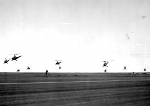 A flock of helicopters lands after a training mission at Sheppard Field, Texas. Both R-4B and R-6 models are pictured.