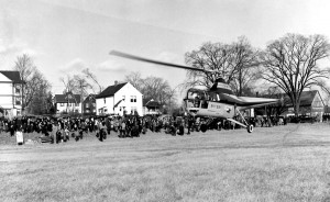 John Sanduski brings the Skyway helicopter in for a landing somewhere in New England during a barnstorming tour.
