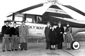 John Sanduski (far left) with flight crew and officials of Skyways Corporation's Sikorsky S-51.