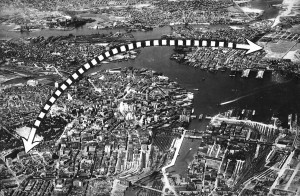 The world's first scheduled helicopter service followed this route from Logan Field to the roof of the Motor Mart in downtown Boston.