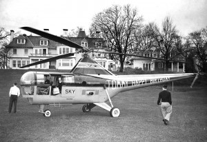 In the spring of 1947, Georgina Campbell, the estranged eighth wife of Tommy Manville, rented Skyways' helicopter to deliver a birthday cake to the asbestos heir's estate, hoping it would help win back his affections.