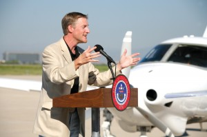 Erik Lindbergh helped kick off the Spreading Wings Colorado Barnstorming Tour in a ceremony that took place at Signature Flight Support at Centennial Airport.