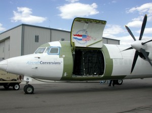 Straight Flight Conversions modifies Fokker 50 twin-engine, turboprop airplanes from passenger to cargo aircraft.