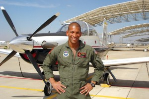 "Based at Vance Air Force Base, Lt. Che' Coleman instructs in the T-6A Texan II, a tandem-cockpit, turboprop aircraft. He said he loves to teach, and that it's very rewarding to see that ""light come on when a student gets it."""