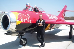 Bill Reesman, an Air Force veteran who flew the F-100 Super Sabre in 320 combat missions over Vietnam, flew an air demonstration showing the awesome power of his Russian-built afterburning MiG-17F Fresco. His plane is sponsored by Red Bull.