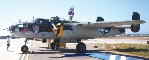 Executive Sweet, a twin-engine WWII B-25 Mitchell medium bomber, was one of many WWII aircraft that took part in flybys.