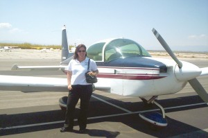 Anne Marie Radel flew us to Corona Municipal Airport in her Gulfstream American AA-5B Tiger, where we were scheduled to take a flight aboard Rose.