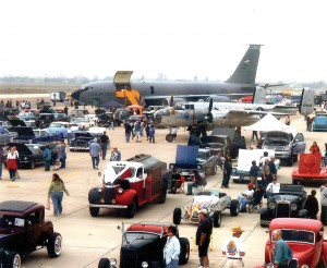 Wings, Wheels & Rotors will include military aircraft, civilian and military helicopters, cars, entertainment and much more. This view from last year's expo includes an Air National Guard KC-135 from March AFB and a B-25, surrounded by automobiles.