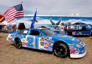 Attendees perused numerous displays, including the #21 backup NASCAR sponsored by the U.S. Air Force.