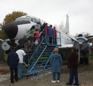 "Students were able to walk inside an old 1950s Martin 202 airliner. The airliner still has its original seats and cockpit instruments. Because of dampness and mold, several students remarked that it was ""smelly"" inside."