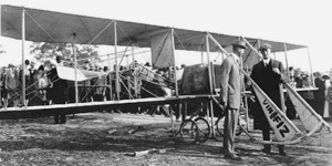 Advertising for Vin Fiz appeared on the Wright Model EX's landing gear braces, and on the bottom of the lower wing, stabilizer and rudder. Both Cal Rodgers (right) and his cousin, John Rodgers, took lessons at the Wright brothers' school.