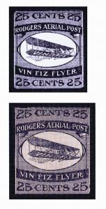 Cards or letters bearing the special 25 cent Vin Fiz stamp were carried aboard one leg of Rodgers' flight.
