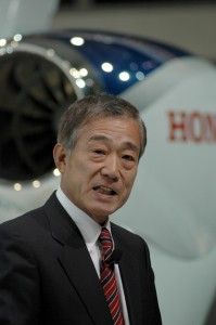 During NBAA 2006, Honda Aircraft Company held a press conference to reveal details of its HondaJet. In a show of support for the jet, Takeo Fukui, president and CEO, Honda Motor Co., surprised the audience with a rare appearance.