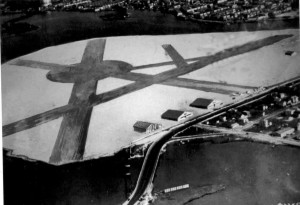 The earliest known photo of Bader Field shows the near completion of a third hangar. The circle in midfield is believed to have been a dirigible mooring area.