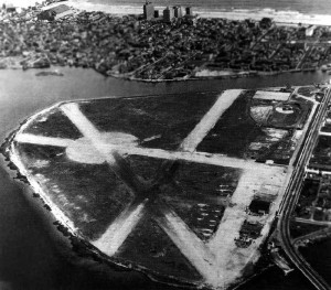 This photo was taken during World War II, when the Navy used Bader Field. It's unclear what had happened to the runways, but they were later restored.
