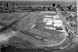 This photo, taken sometime before the 1970s, shows more than four dozen aircraft tied down. At some point, the runways were resurveyed; because of a magnetic shift, Runway 12 became Runway 11.