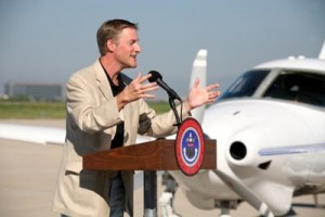"At the tour launch at Centennial Airport, Erik Lindbergh spoke to students from the American Academy about getting ""juiced"" by aviation, achieving better grades and pursuing their personal passions. The Adam A-500 brought Governor Owens to the program."