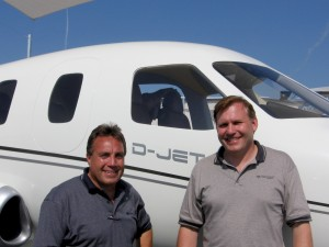 Richard Simile (left), regional sales manager for Alabama, Tennessee and the Florida Panhandle, with Peter Maurer, president of Diamond Aircraft. Premier and Diamond have a symbiotic relationship.