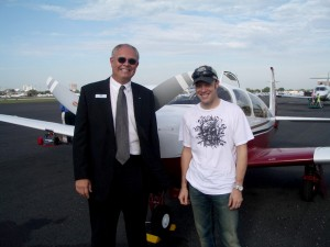 Vice President Earle Boyter visits with his customer, NASCAR driver Matt Kenseth, at the 2006 annual NBAA convention in Orlando. Kenseth made his first trip to the NASCAR All Pro Series in 1995.