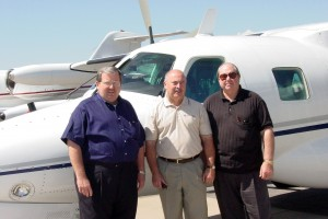 Tom Berscheidt, president of Turbine Aircraft Services, and Pat Cannon, vice president, traveled to Centennial Airport with Ralph Sorrells, deputy general manager of Mitsubishi Heavy Industries America, to champion the reliability of the MU-2B.