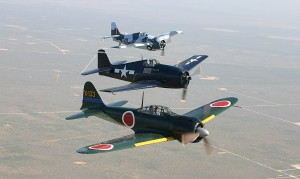Three rare vintage warplanes, a Zero, Bearcat and FM-2 Marlett, fly prior to the CAF's annual air show.