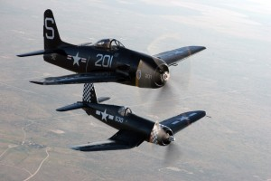 The CAF's Bearcat and Corsair team up during a photo flight.