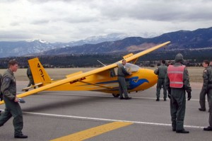 A glider at the academy airport is prepared for takeoff.