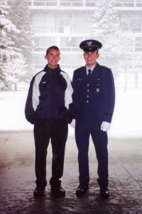 Austin poses with Cadet Adam Keith, a former high school classmate. Snowfall has begun in earnest.