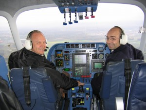 Steve Fossett (left) is one of 17 Zeppelin captains in the world. In October 2004, he set an absolute world speed record for airships of 71.5 mph, in a Zeppelin NT. His copilot was Hans-Paul Stroehle.