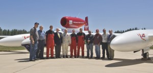 "After the arrival of the record-setting airplane at the Steven F. Udvar-Hazy Center, May 23, 2006, Steve Fossett (fifth from left), poses with J.R. ""Jack"" Dailey, director, NASM (fourth from left), museum staff and GlobalFlyer ground crew."