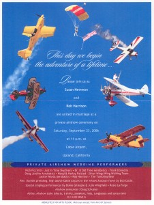 A colorful poster inside the wedding invitation featured the different air show performers. The bride created the invitation, all the inserts, and the program.